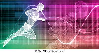 Man Running on Chart Background