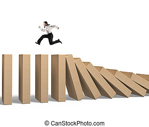 Man running on falling wooden dominoes