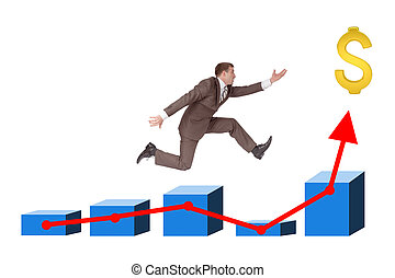 Man running on graph with dollar sign