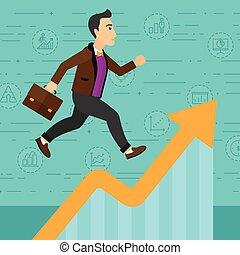 Man running on growth graph.