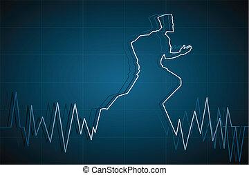 Man running on Life line - illustration of man running on ...