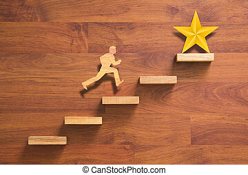 man running on stairs to success