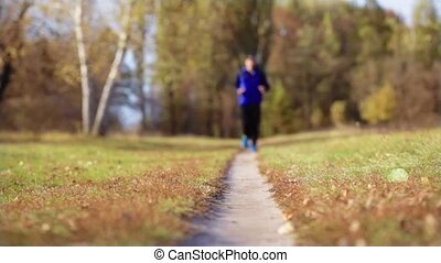 man running on the meadow path