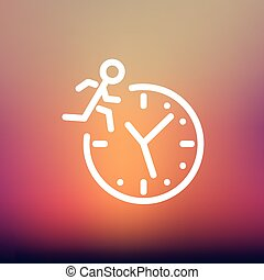 Man running on time thin line icon