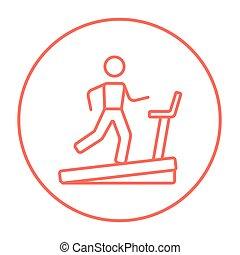 Man running on treadmill line icon.