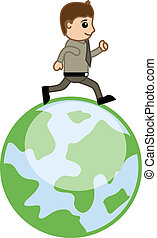 Man Running Over the Earth Vector