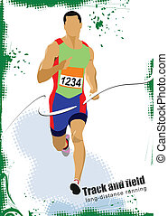 Man running poster. Vector illustar