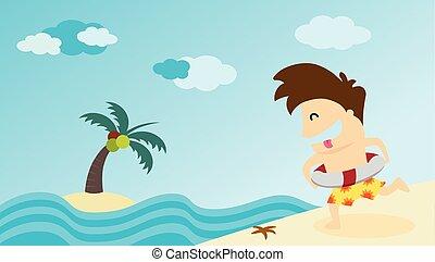 Man running to summer beach. Vector illustration.
