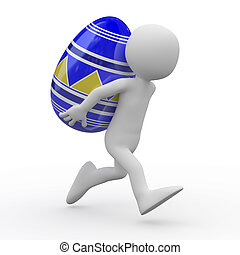 Man running with a huge Easter egg