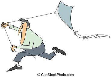 Man running with a kite