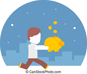 man running with a piggy bank full of money