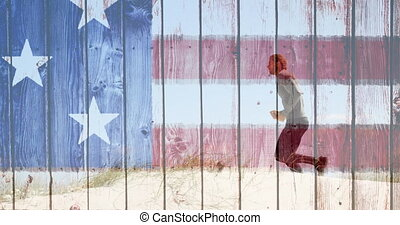 Man running with american flag made of wood