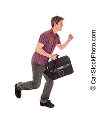 Man running with briefcase.
