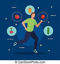 man running with organic vegetables and apple