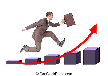 Man running with suitcase on chart