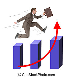 Man running with suitcase on growth chart