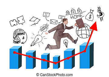 Man running with suitcase on growth graph