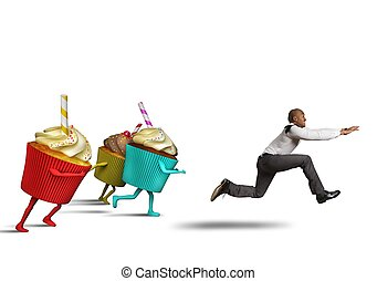 Man runs away from sweets and calories