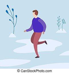 man runs in the winter in the park. vector illustration