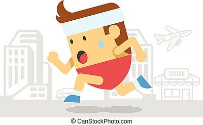 Man runs. Vector flat illustration
