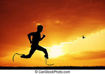 prosthetic legs - man runs with prosthetic legs