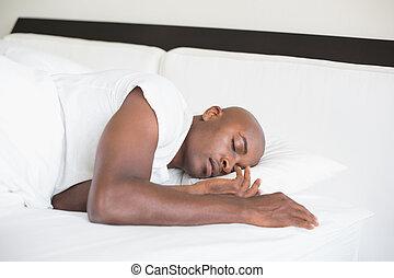 man, säng, fredlig, sova