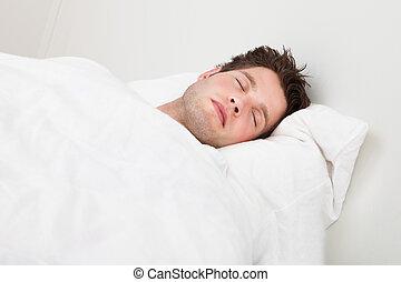 man, säng, sova