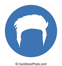 Man s hairstyle icon in black style isolated on white...