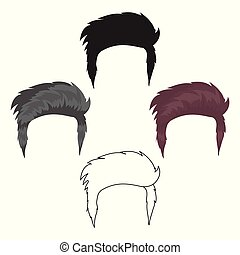 Man s hairstyle icon in cartoon,black style isolated on...
