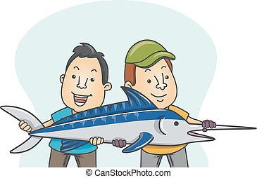 Man Sailfish Fishing Illustration