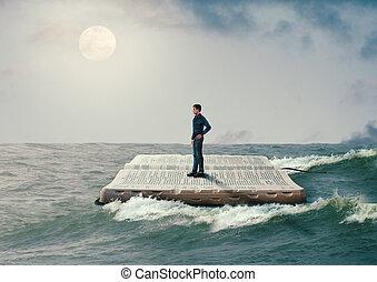 man sailing on the Holy Bible, in rough seas, seeking ...