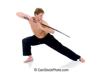 Man samurai sword