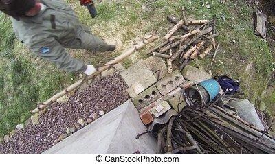 Man sawing wood chainsaw. 4K. - Man sawing wood chainsaw....