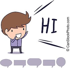 Say hi saying hello to each other in the workplace stock man standing greeting and say hi with text bubble m4hsunfo Images