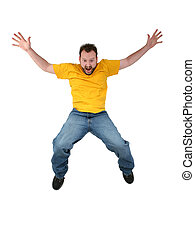 Man Scared Falling - Man in yellow shirt and jeans falling ...