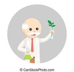 man scientist experiment with plant in circle background