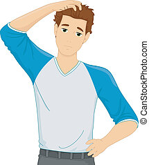 Man Scratching Head - Illustration of a Man Scratching His...
