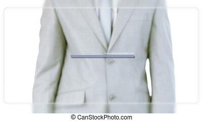 Man scrolling business meeting vide