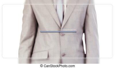 Man scrolling videos of business pe