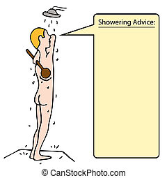 An image of a man taking a shower and scrubbing his back.