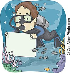Man Scuba Diver Board - Illustration of a Man in Scuba...