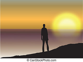 MAN SEA AND SUNSET