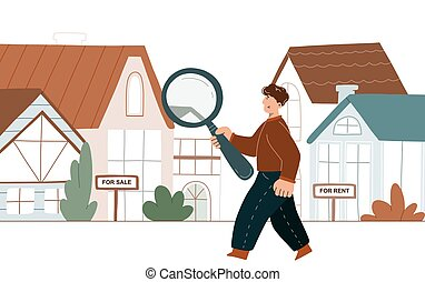 Man searching a house
