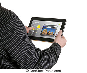 man searching a tourism information on pad
