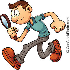 Man searching with a magnifying glass. Vector clip art illustration with simple gradients. All in a single layer.