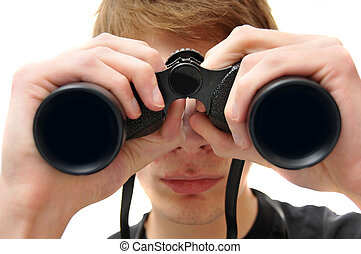 Man searching with binoculars