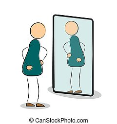 Vector illustration. Isolated drawing on white background. Man silhouette looks in own reflection in the mirror