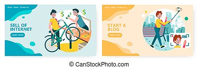 Man sell his used bike on online classified website. Travel video blog concept illustration. Vector web site design template. Landing page website illustration