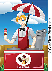 A vector illustration of man selling ice cream in the park