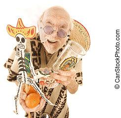 Senior man with cigarette selling kitsch tourist souveniers